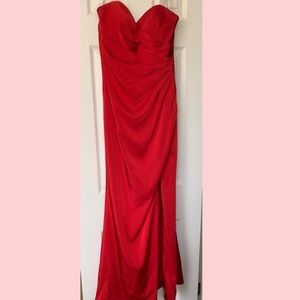Faviana Red Strapless Prom Dress with Thigh Slit